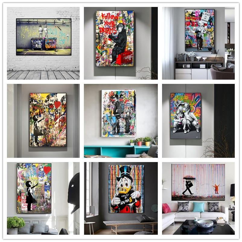 Cadre Int/érieur 12x18in YCCYI Banksy Street Art Life is Short Chill The Duck Out Affiches Imprimer Graffiti Toile Peinture Mur Photos pour La D/écoration Int/érieure 30x45cm