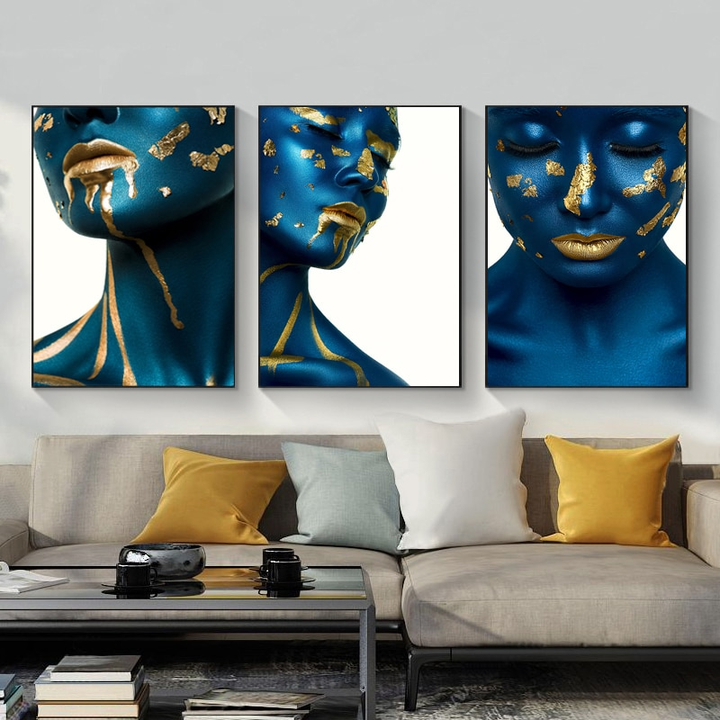 Golden Blue Girls Posters And Prints, Modern Wall Art For Living Room Uk