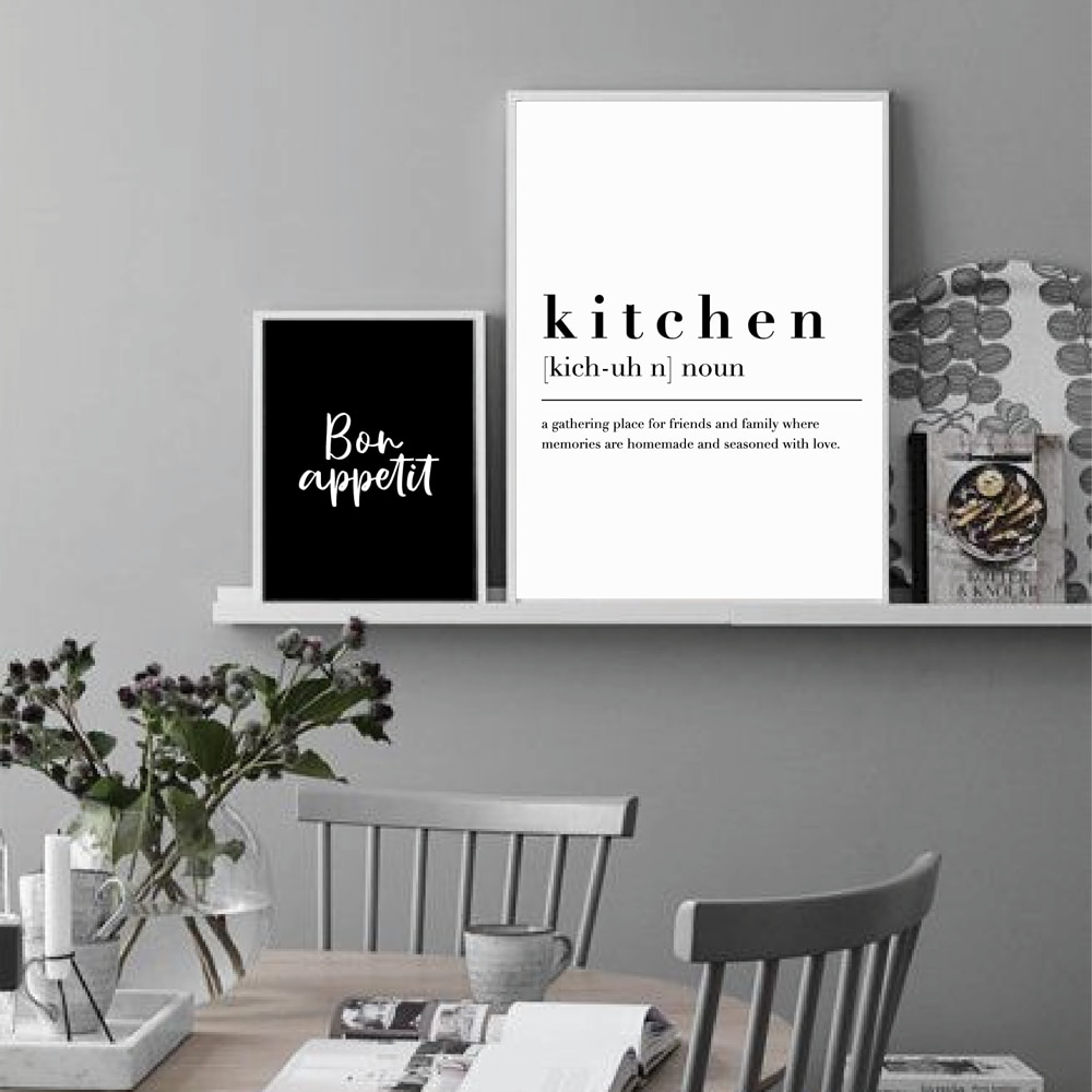 Kitchen Dining Room Wall Art Prints Decorative Pictures Nordic Black White Posters Bon Appetit Quotes Canvas Paintings Decor