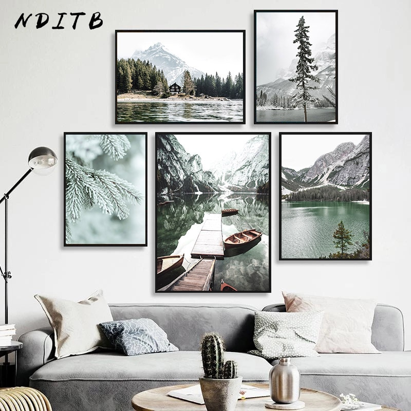 Scandinavian Nature Landscape Canvas Painting Sunset Wall Art Poster Home Decor