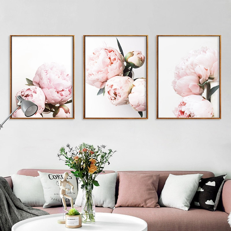 Nordic Light Pink Peonies Flowers Canvas Paintings Gallery Modern Romantic Posters Print Wall Art Bedroom Wall Poster Unframed Nordic Wall Decor